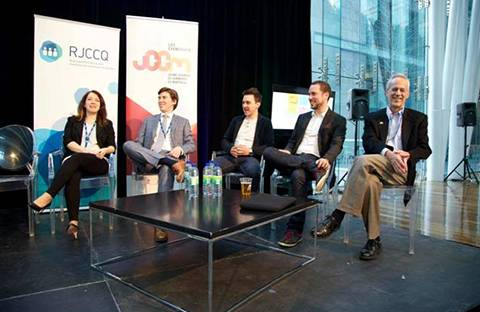 Maryse Gingras (Director, Futurpreneur Canada), Étienne Brassard (Partner, Lavery), Simon Lapointe (Audit Director, Richter), Alexandre Guertin (Investment Associate, Teralys Capital) and Ty Denco (Director, Techstars)