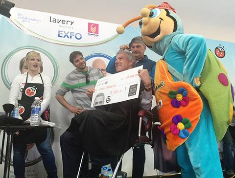 Louis Rochette takes part in Leucan's Shaved Head Challenge in Quebec City