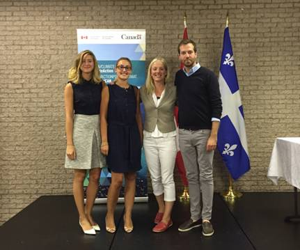 Left to right: Chloé Fauchon, Charlotte Fortin, the Honourable Catherine McKenna and Joël Lightbound
