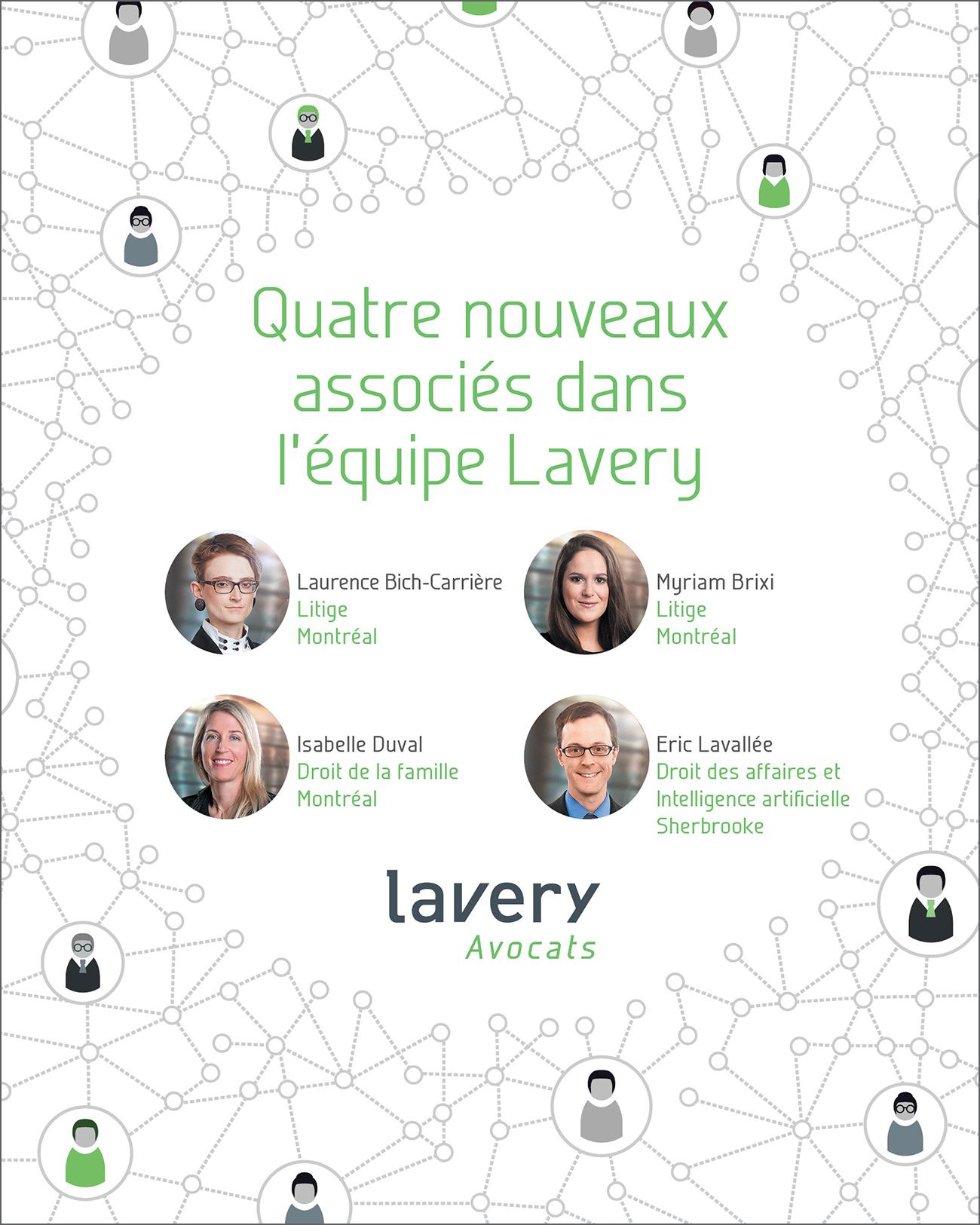 Quatre nouveaux associés dans l'équipe Lavery